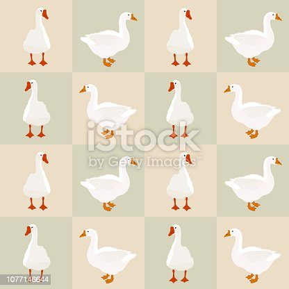 Seamless farm birds white goose pattern on squares background. Domestic geese animals simple cute print, village style drawn texture for fabric cloth or kitchen wall paper, vector eps 10