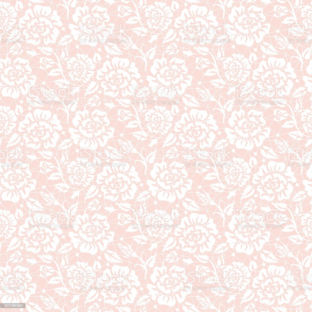 Seamless white lace vector art illustration
