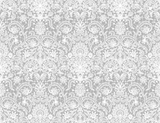 Seamless white lace Seamless red lace background with floral pattern lace textile stock illustrations