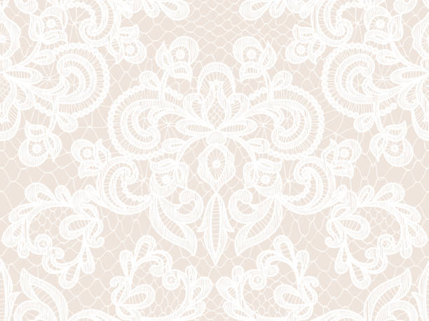 Seamless white lace Seamless beige lace background with floral pattern lace textile stock illustrations