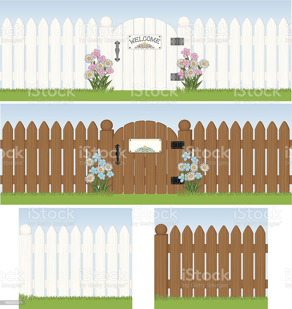 Seamless White Picket Fence with Gate vector art illustration