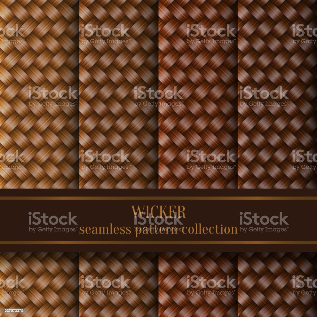 Seamless Wicker Pattern Set vector art illustration