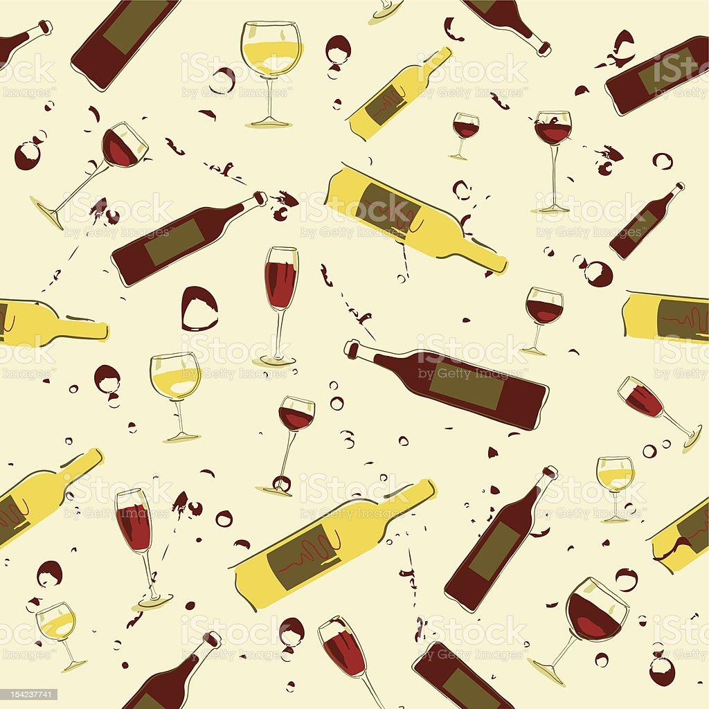 Seamless Wine Background vector art illustration