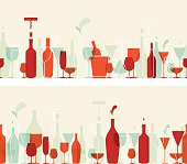 Seamless wine banners with retro colours
