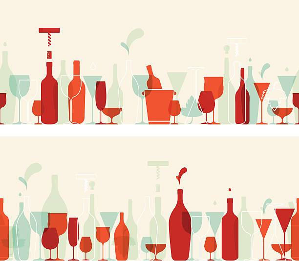seamless wine banners with retro colours - alcohol drink backgrounds stock illustrations
