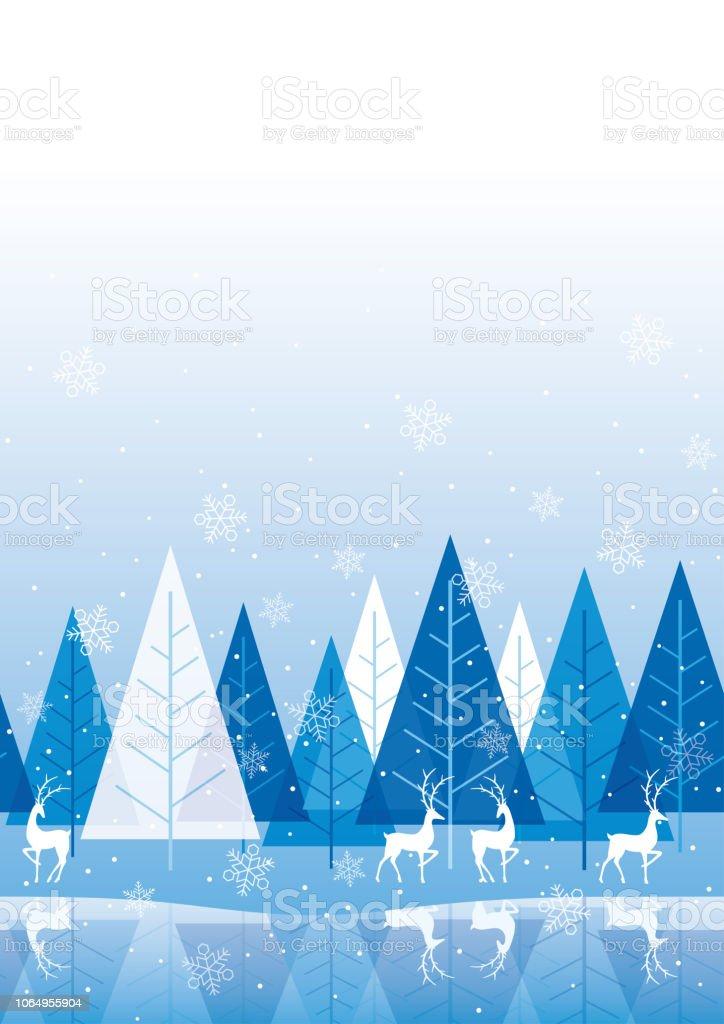 Naadloze winter bos achtergrond met rendieren. - Royalty-free Achtergrond - Thema vectorkunst