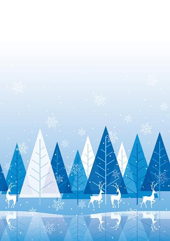 Naadloze Winter Bos Achtergrond Met Rendieren Stockvectorkunst en meer beelden van Achtergrond - Thema