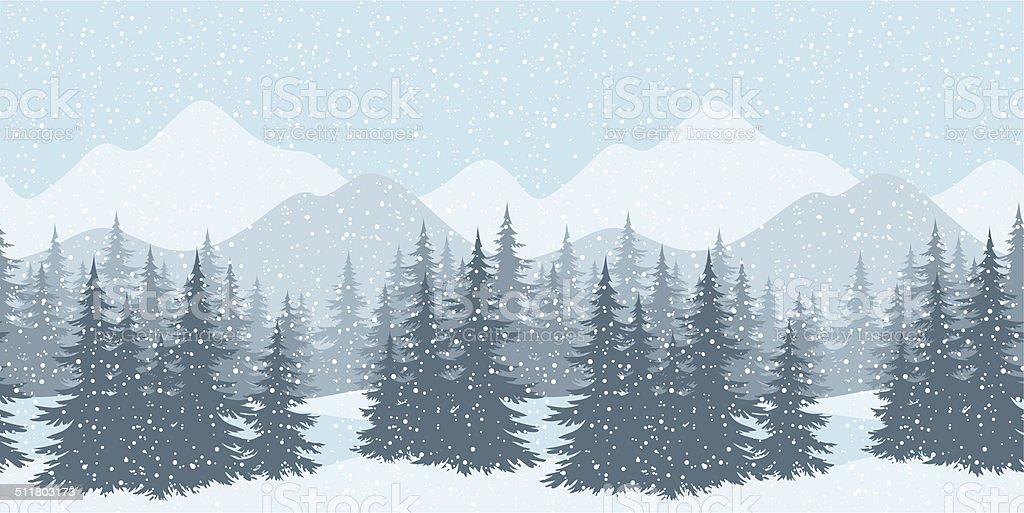 Seamless winter landscape with fir trees vector art illustration