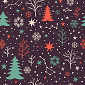 Seamless winter pattern with trees and constellations and stars.
