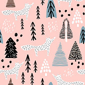 Seamless winter pattern with fox, tree, and ink drawn elements. Creative christmas background. Vector Illustration