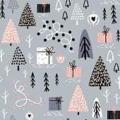 Seamless winter pattern with gift box, tree, christmas light. Creative christmas background. Vector Illustration