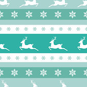 seamless winter pattern with white snowflakes and deers with antlers. vector flat Christmas ornament on powder blue background. winter reindeer texture.