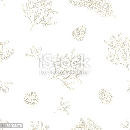 Seamless winter plant pattern. Christmas background and wrapping paper.