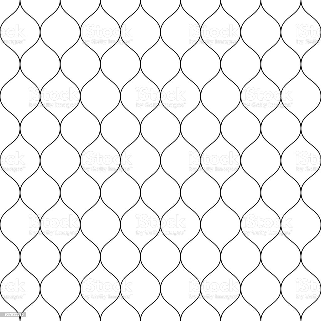 Seamless Wired Netting Fence Simple Black Vector Illustration On ...