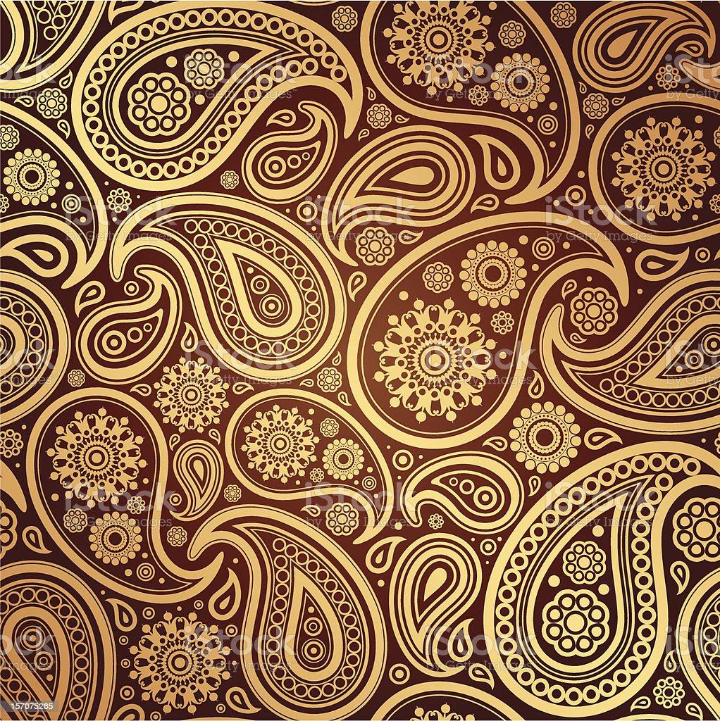 seamless with golden  paisley vector art illustration