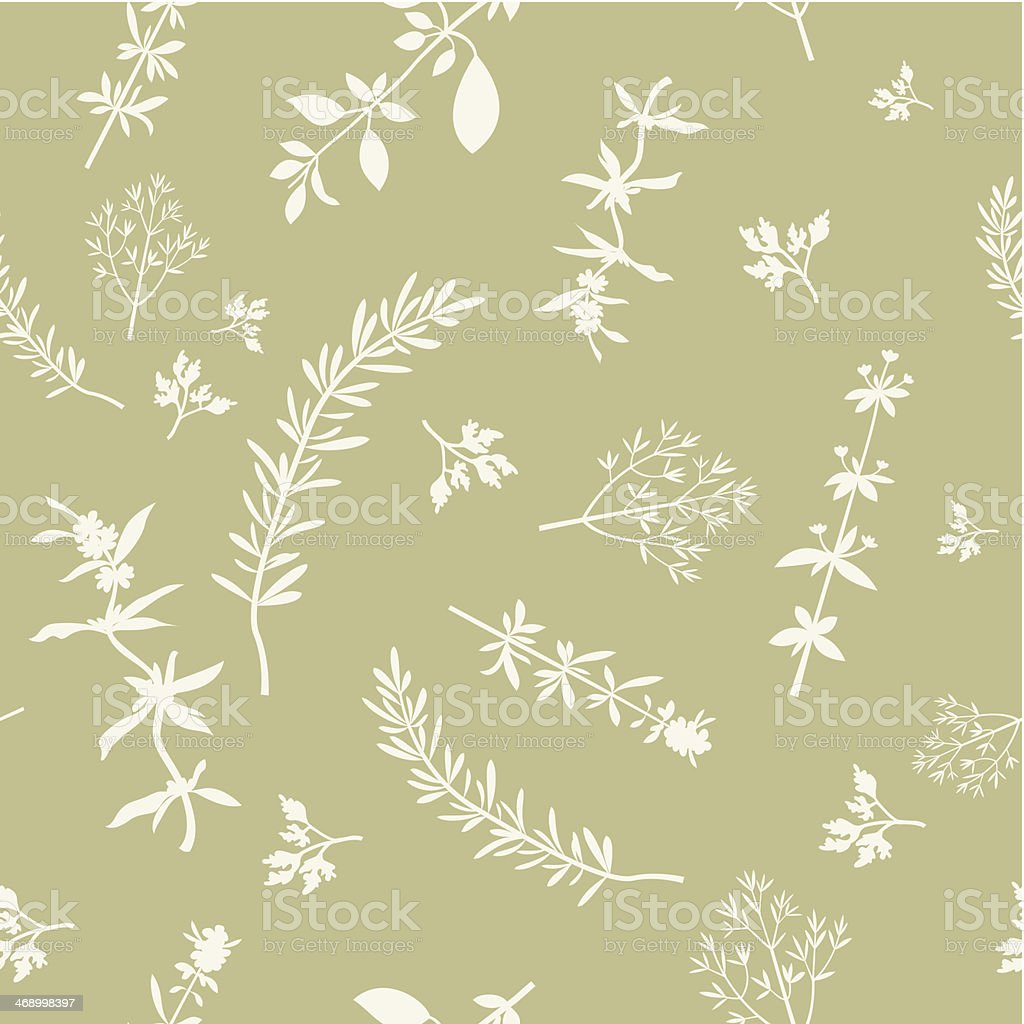Seamless With Herbs Silhouettes vector art illustration