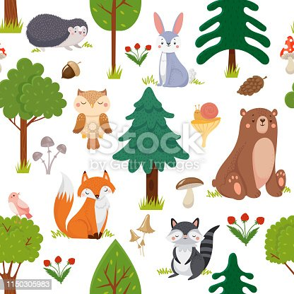 Seamless woodland animals pattern. Summer forest cute wildlife animal and forests floral. Kid nursery room wallpaper, textile fabric or woodland nature wrapping cartoon vector background