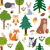 istock Seamless woodland animals pattern. Summer forest cute wildlife animal and forests floral cartoon vector background 1150305983