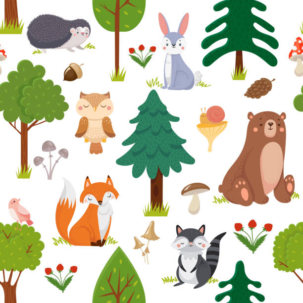 Seamless woodland animals pattern. Summer forest cute wildlife animal and forests floral cartoon vector background Seamless woodland animals pattern. Summer forest cute wildlife animal and forests floral. Kid nursery room wallpaper, textile fabric or woodland nature wrapping cartoon vector background young animal stock illustrations