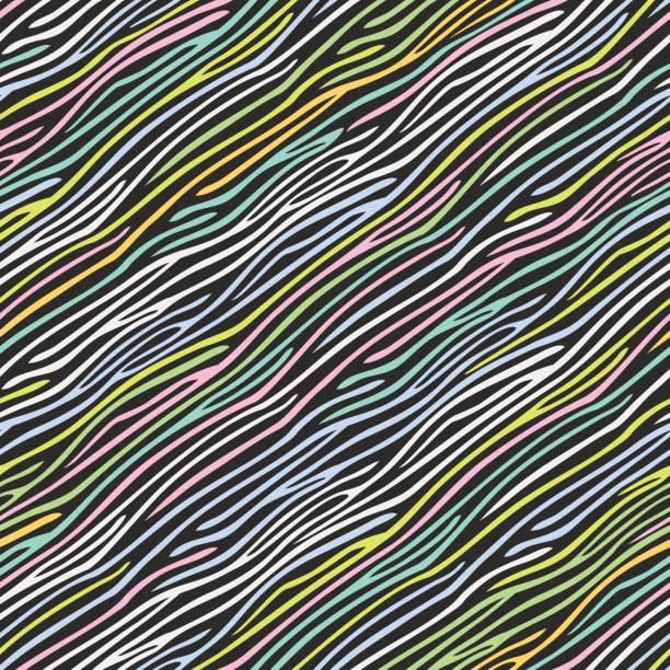 seamless zebra skin pattern - fur texture stock illustrations, clip art, cartoons, & icons