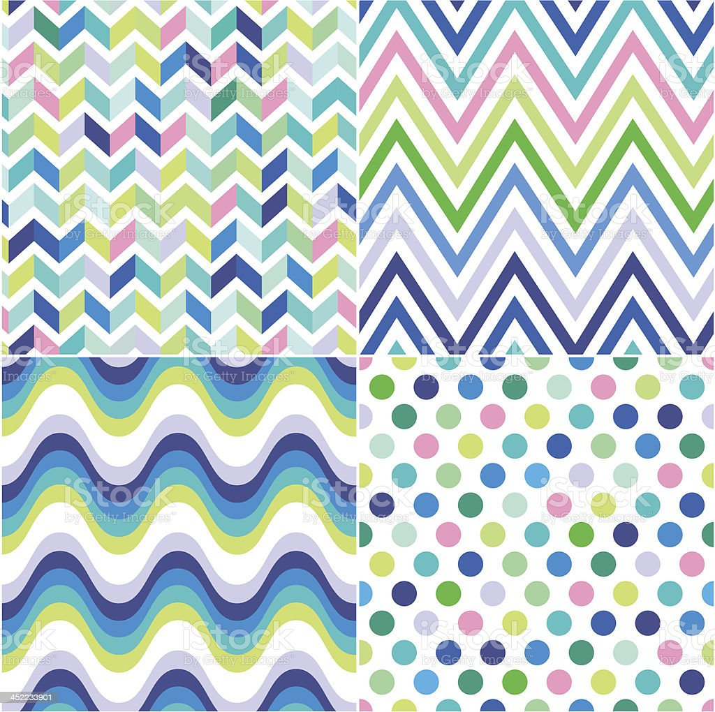 seamless zig zag and polka dots background royalty-free stock vector art