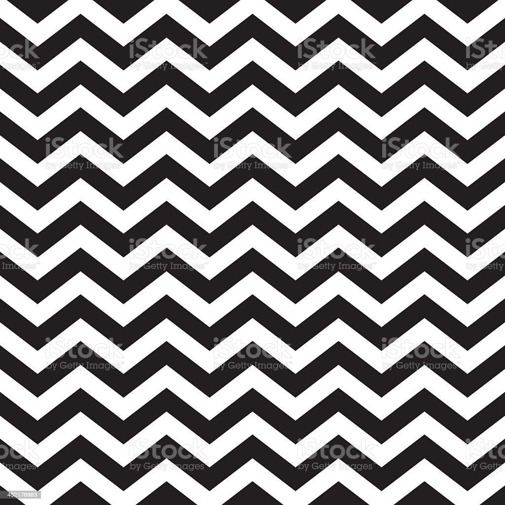 Seamless zigzag chevron pattern in black and white vector art illustration