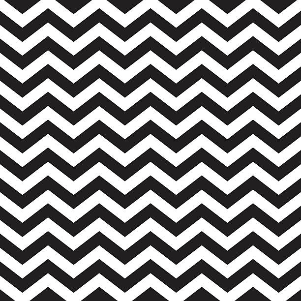 Seamless zigzag chevron pattern in black and white vector art illustration