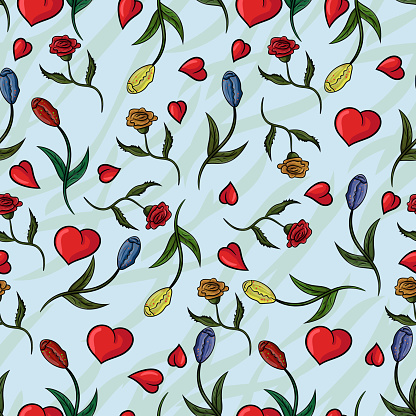 seamless_3_pattern of flowers, roses and tulips with translucent background