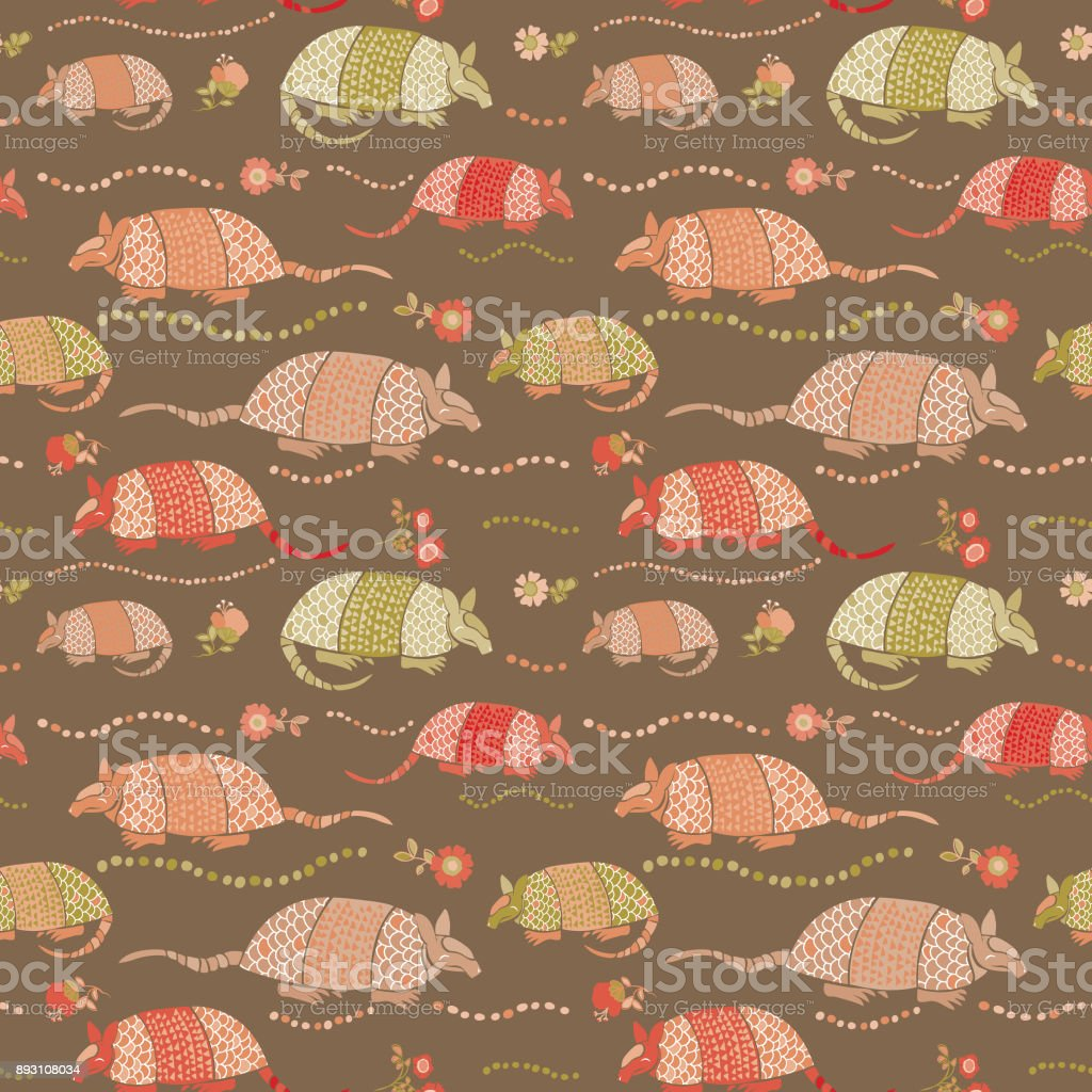 Seamless_Armadillo_Floral_Allover_Print_Pattern_Brown_Background vector art illustration