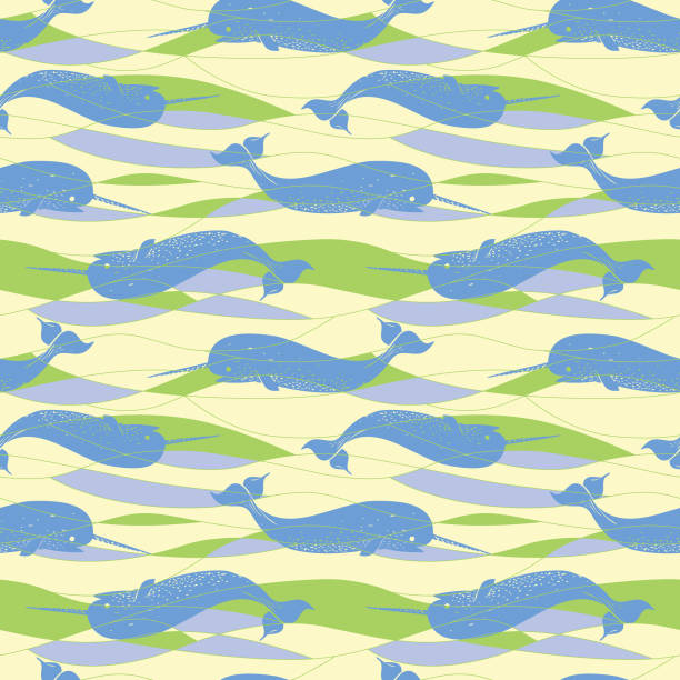bildbanksillustrationer, clip art samt tecknat material och ikoner med seamless_narwhal_allover_print_sea_waves_green_cream_background - hui style