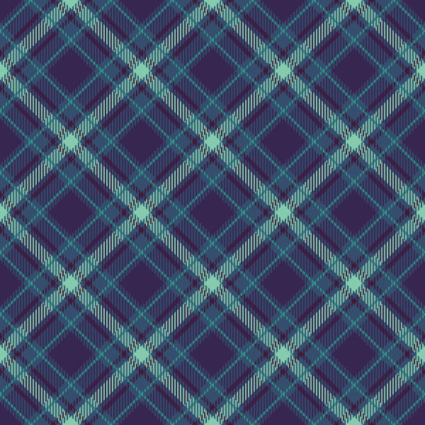 bildbanksillustrationer, clip art samt tecknat material och ikoner med seamless_plaid_pattern_diagonal_with_texture_deep_blue_background - hui style