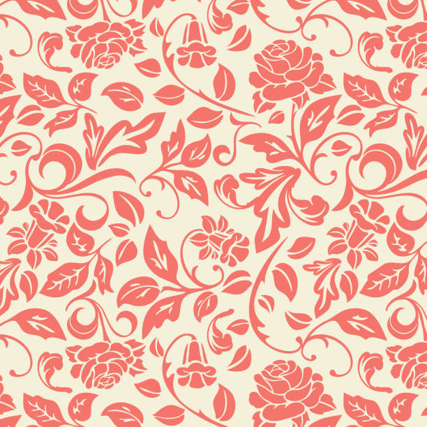 bildbanksillustrationer, clip art samt tecknat material och ikoner med seamless_repeat_floral_vine_rose_pattern_coral_and_cream_background - hui style