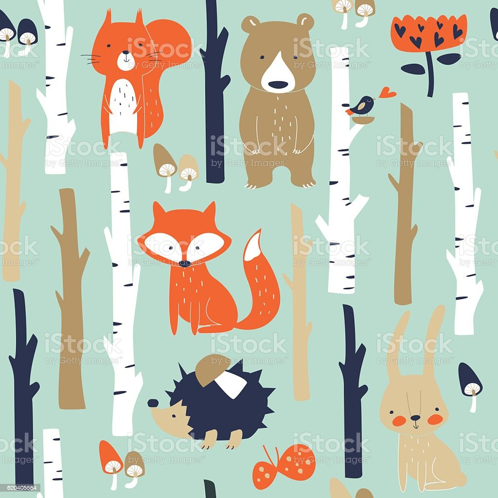 seamlessbirchforestanimals vector art illustration