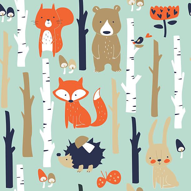 ilustrações, clipart, desenhos animados e ícones de seamlessbirchforestanimals - planos de fundo de animais