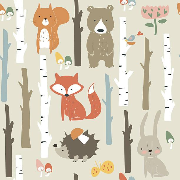 seamlessbirchforestpopcolor – artystyczna grafika wektorowa