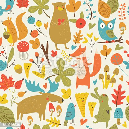 Seamless autumn forest background with cute bear, hare, squirrel, elk, owl, fox, flowers, mushrooms, birds and hearts in cartoon style