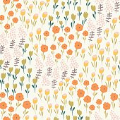 Seamless background with cute tender flowers in cartoon style.