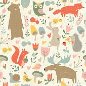 Seamless background with cute forest animals, flowers, butterflies and mushrooms in cartoon style