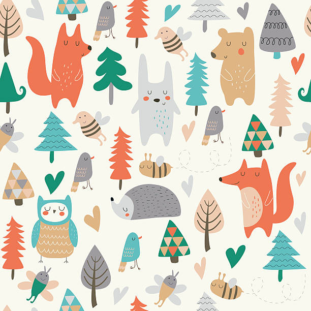 seamlessforestlittleanimalsgrey Seamless background with cute forest animals and trees in cartoon style bedroom patterns stock illustrations