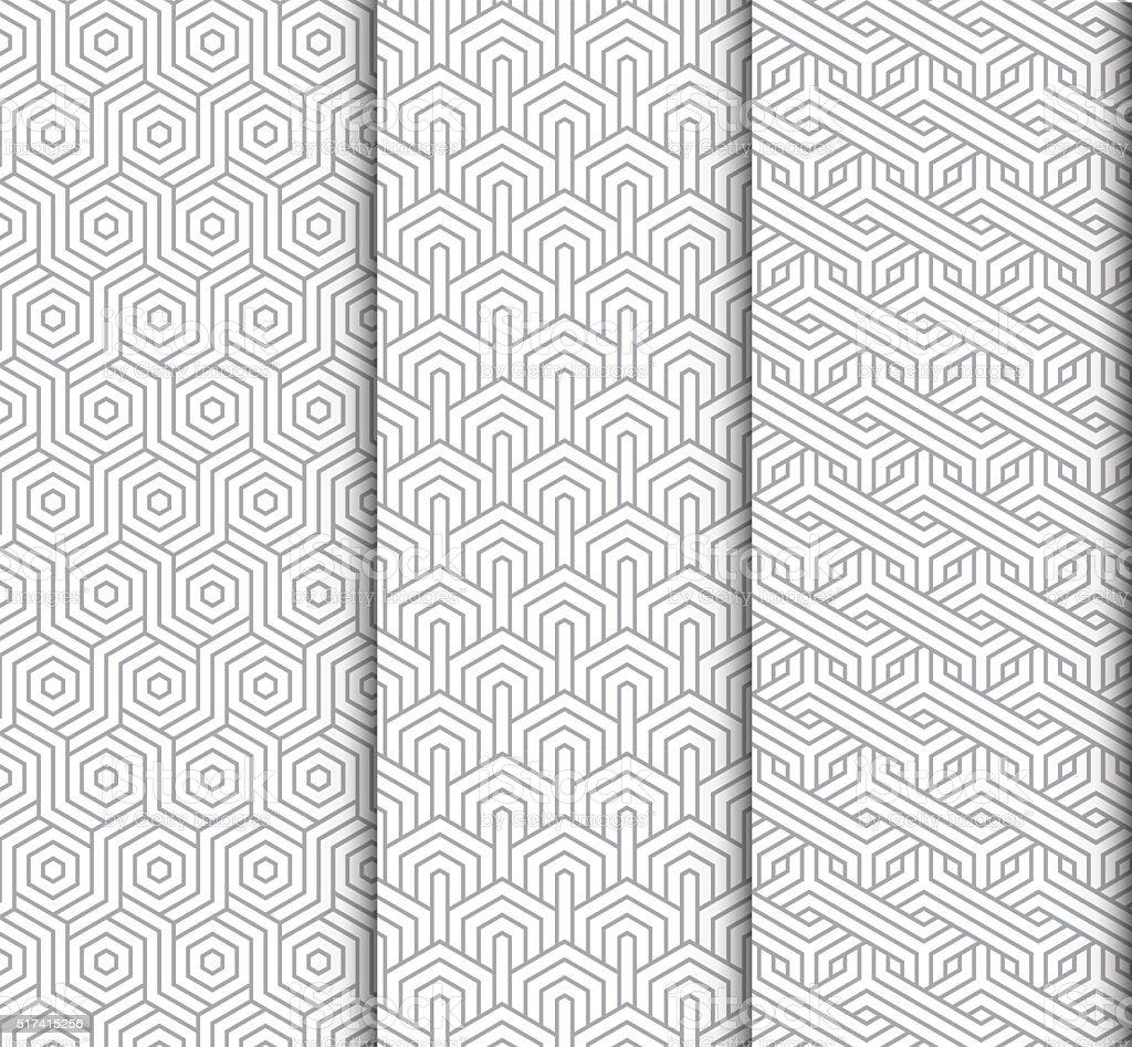 seamlessly geomatric patterns vector art illustration