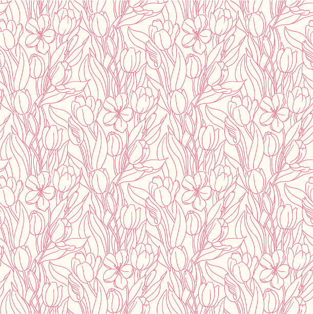 Seamlessly repeating floral pattern vector art illustration