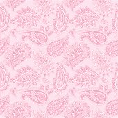 Seamlessly repeating hand drawn vector illustration of white paisley pattern on pink background. Great for wrapping paper, wallpaper and fabric design.