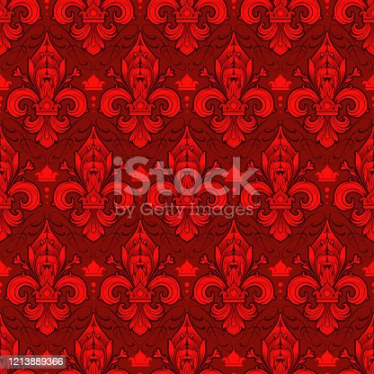 seamlessly tiling red fleur-de-lis pattern on a dark background - perfect for luxury designs as wallpaper for gift wrapping or digital scrapbooking