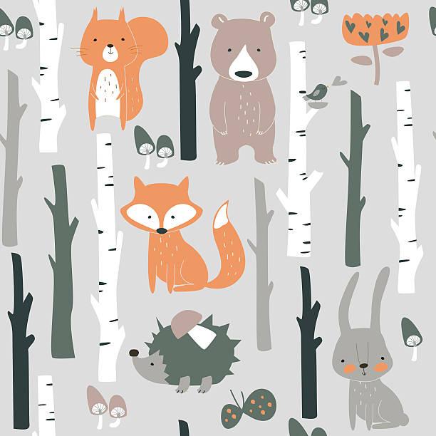 seamlessorangebirchpokemon Forest seamless background with cute fox, bear, bunny, elk, hedgehog, birds, mushrooms and trees in cartoon style animal markings stock illustrations