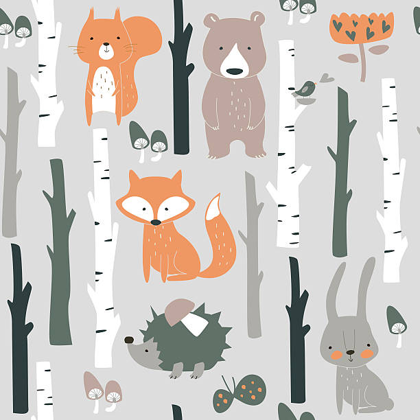 seamlessorangebirchpokemon Forest seamless background with cute fox, bear, bunny, elk, hedgehog, birds, mushrooms and trees in cartoon style arthropod stock illustrations
