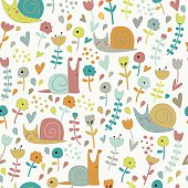 Cute seamless background with funny snails and flowers in cartoon style