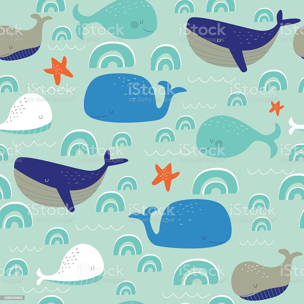 seamlesswhales vector art illustration