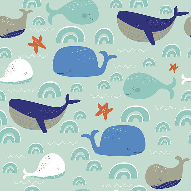 seamlesswhales Seamless pattern with cute whales in cartoon style bedroom patterns stock illustrations