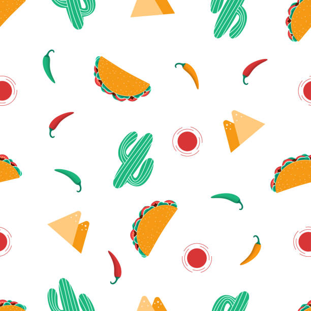 seampless taco pattern - mexican food stock illustrations, clip art, cartoons, & icons