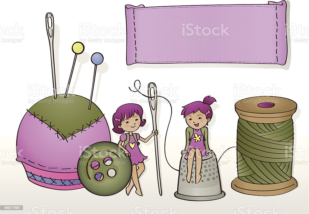 Seamstress little helpers (with banner) vector art illustration